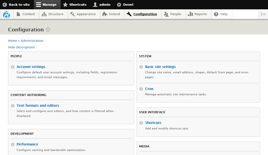 Screenshot of the configuration page on a Drupal 8 website