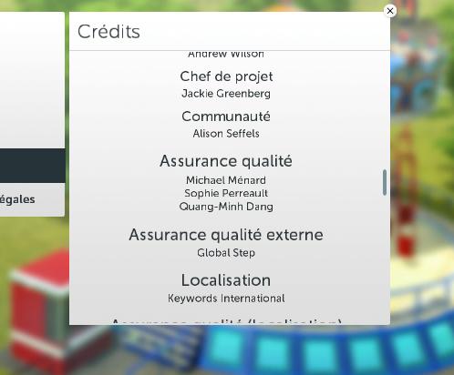 Capture d'écran des crédits de RollerCoaster Tycoon World