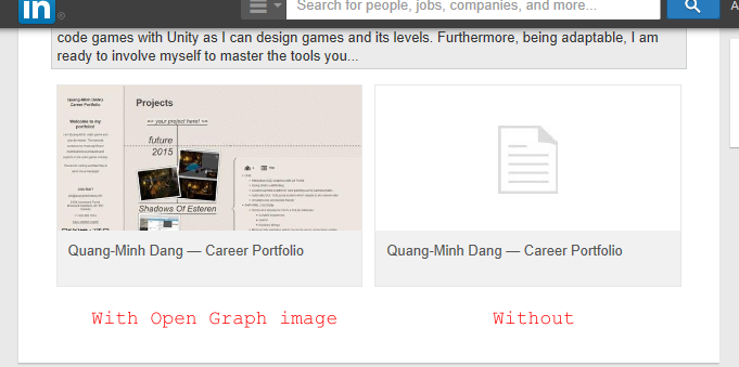 Screenshot comparing between with open graph image and without