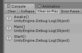 Screenshot of Unity console