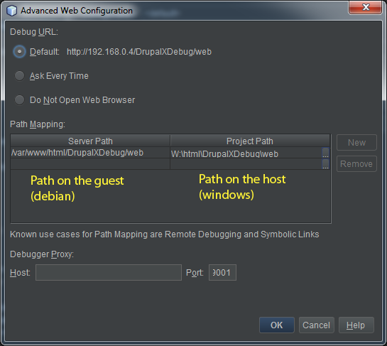 Screenshot of path mapping on Netbeans